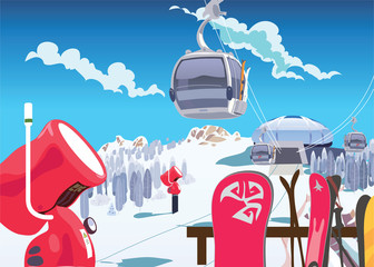 Ski slope lift, snow gun, winter holidays in the mountains. Vector