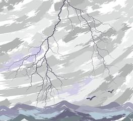 Sea landscape with a lightning.