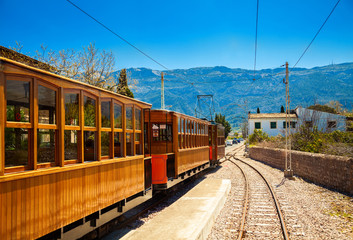 famous vintage old train in Soller