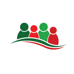 People Christmas logo. Group of four persons