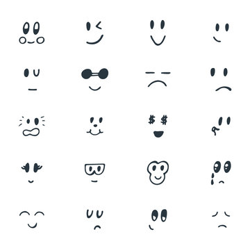 Set of hand drawn funny smiley faces. Sketched facial expression