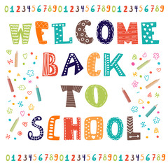 Welcome back to school. Greeting card. Back to school design tem