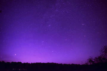 Foto op Aluminium Violet Beautiful purple night sky with many stars