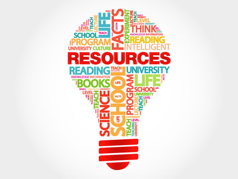RESOURCES bulb word cloud, business concept
