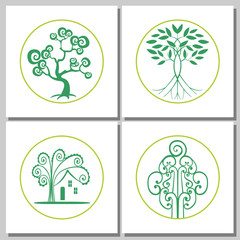 Collection Of Abstract Green Trees Concepts