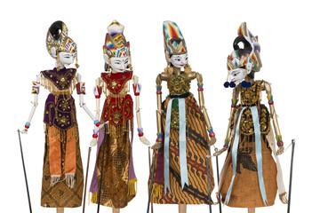 """""""Wayang Golek"""", traditionelles Puppenspiel mit Stabpuppen in Indonesien."""