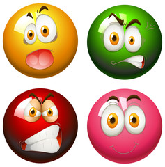 Snooker balls with faces