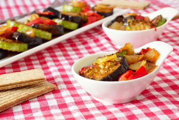 Жаренные баклажаны и кабачки с болгарским перцем и луком.
