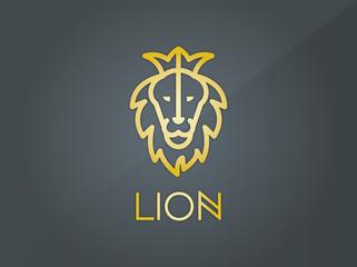 aslan başı logo, amblem vektörel