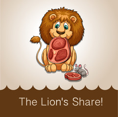 Lion eating his share of meat