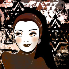 middle eastern beautiful girl,stylized retro picture
