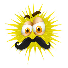 Yellow thorny ball with mustache