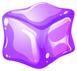 Purple ice cube on white