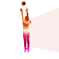 Woman female volleyball player silhouette vector background colo