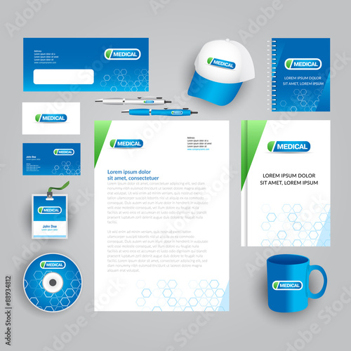 blue corporate identity template with medical logo medical company