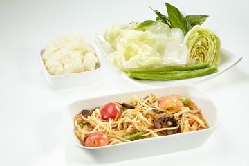 Papaya salad with  salted crab, Som Tam Thai
