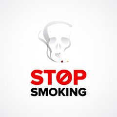 Stop smoking concept, cigarette with skull in smoke. Vector illustration, badge, t-shirt graphic.