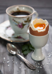 Boiled eggs and coffee