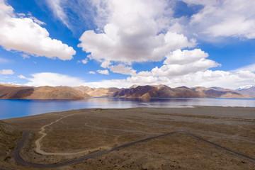 Pangong Lake(Tso),wide 6-7 km, long 130 km, 30% of area in India