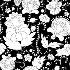 vector seamless abstract doodle flower and wave pattern