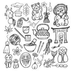 Japanese theme traditional icon set