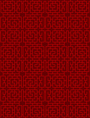 Seamless Chinese window tracery lattice spiral square geometry line pattern.