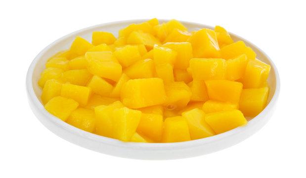 Dish of canned mango chunks
