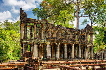 Ruins of ancient building with columns in Preah Khan temple