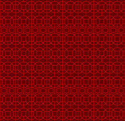 Seamless Chinese window tracery lattice polygon square geometry line pattern.