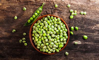 Pitcher of fresh green peas
