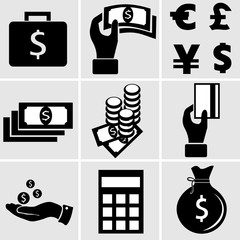 the nine vector black and white icons on the theme of money and banking, depicted coins, banknotes, credit card
