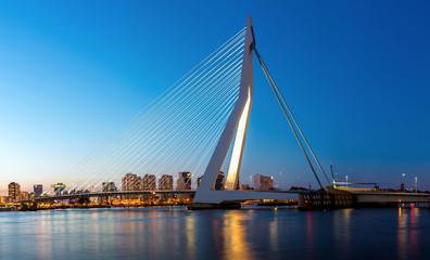Photo sur Aluminium Rotterdam Erasmus bridge Rotterdam panorama