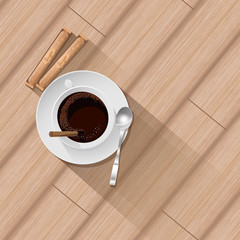 Cofe on the  parquetry