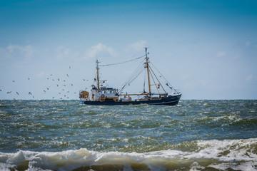 Fischkutter auf Fang an der Nordseeküste