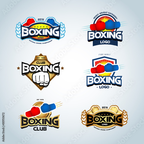 Boxing Logo Templates Set Red Blue And Gold Colors Club Logotype Shield Emblem Label Badge T Shirt Design Fight Theme