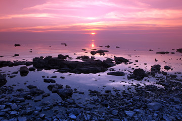 Printed roller blinds Candy pink Sundown at Rock coast, Lake Baikal, Russia