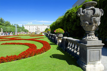 Ornamental gardens, beautiful flowers and Mirabell Palace in Salzburg, Austria