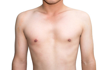 A toned asian male   chest