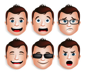 Set of 3D Realistic Handsome Man Head with Different Facial Expressions