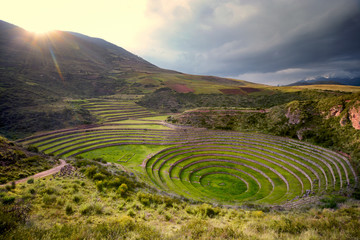 Sun over Moray, Sacred Valley of the Incas, Peru