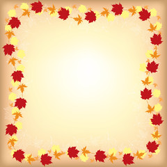 Greeting autumn border with maple leaves on beige background