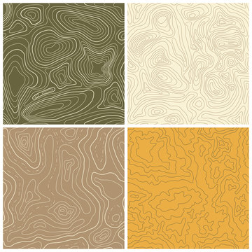 Four Seamless Vector Topographic Map Patterns