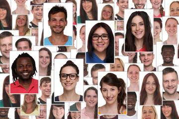 Hintergrund Collage multikulturell junge Leute Gruppe