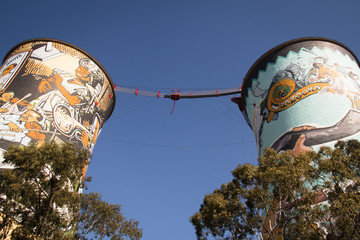 The Orlando Towers in Soweto, a township of Johannesburg in South Africa. Between the towers is a bridge for bungee jumping