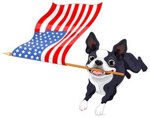 Garden Poster Fairytale World Boston Terrier Running Flag