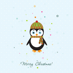 Template Christmas greeting card with a penguin, vector