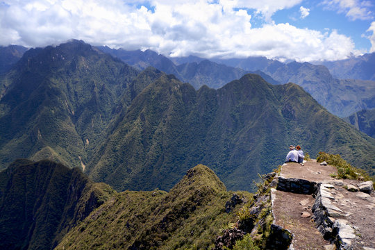 Couple have a rest in the mountains, Peru