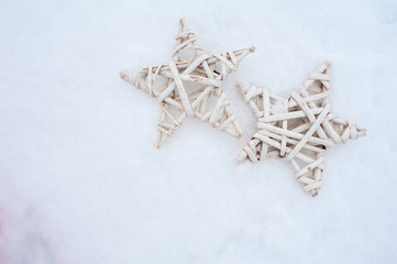 Beautiful wooden toys near a Christmas tree