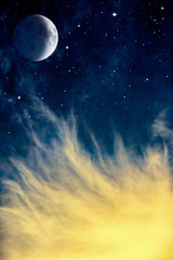 Wall Mural - Wispy Clouds and Moon