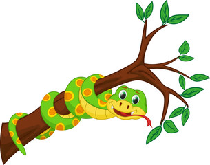 cute snake cartoon on branch